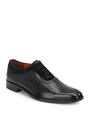 Suede-Trim Leather Oxfords