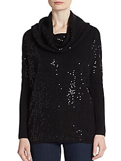Sequined Cashmere Cowlneck Sweater