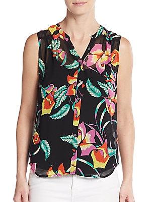 Finnegan Floral Print Silk-Chiffon Top
