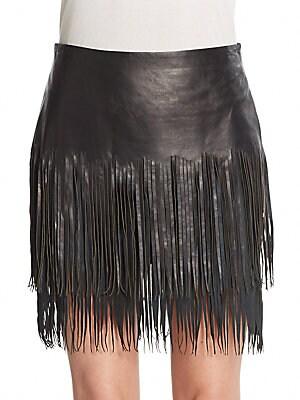 Leather & Suede Fringe Skirt