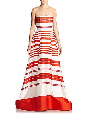 Aubrey Strapless Stripe Gown