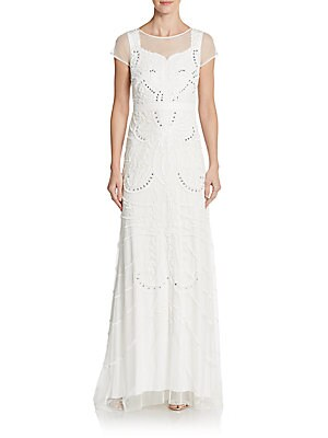 Embellished Illusion Neckline Gown