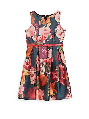 Girl's Floral-Print Satin Dress