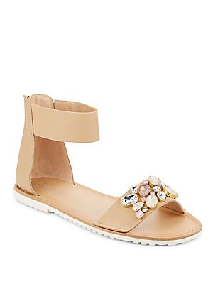 Jeweled Leather Ankle Strap Sandals