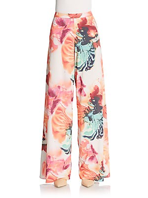 Printed Super-Flared Wide-Leg Pants