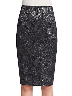 Crackled Metallic Pencil Skirt