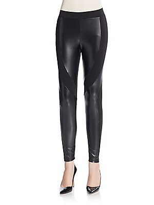 FAUX LEATHER PONTE LEGGIN