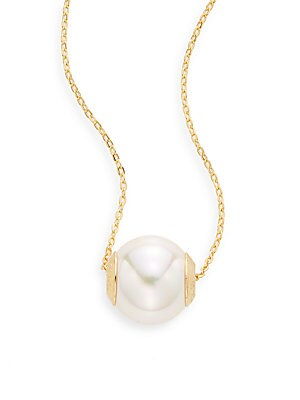 Ophol 12MM White Round Pearl & 18K Gold Vermeil Necklace