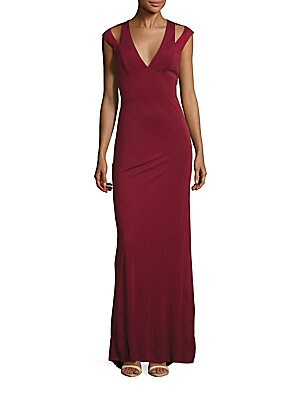 Cutout Jersey Plunging V-Neck Cold Shoulder Gown