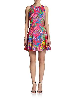 Tropical Print A-Line Dress