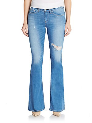 The High-Rise Distressed Flare Jeans