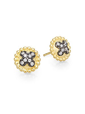 Pavé Clover Button Earrings