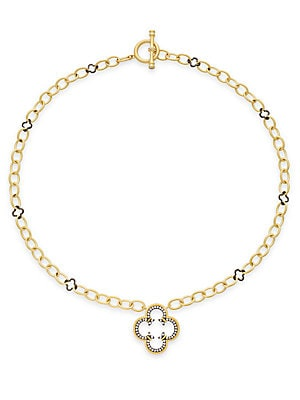 Clover Drop Chain Link Necklace