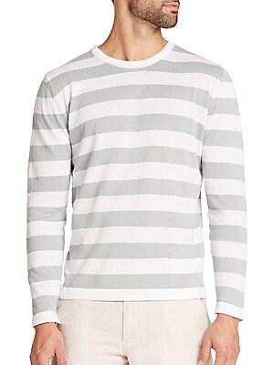 Striped Linen & Cotton Crewneck Sweater