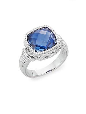 Basketweave Blue Corundum & Sterling Silver Ring