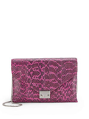 Lock Pebbled Leather Clutch