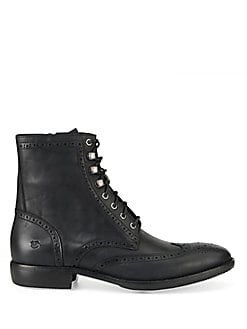 Hillcrest Leather Brogue Wingtip Ankle Boots