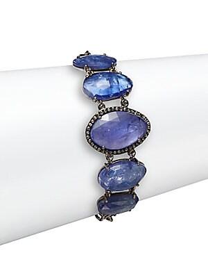 Tanzanite, Champagne Diamond & Sterling Silver Station Bracelet