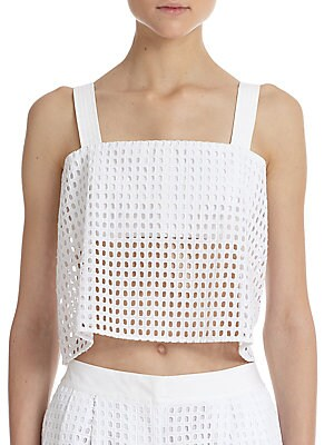 Bandeau-Insert Sheer Cotton Eyelet Cropped Top