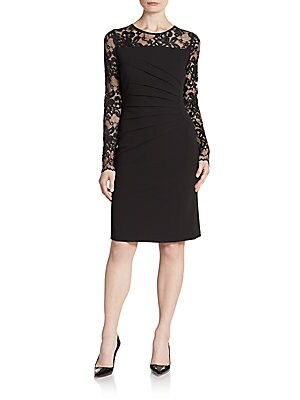 Pintucked Lace-Trimmed Sheath Dress