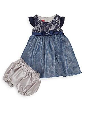 Baby's Lace & Metallic Crinkle Taffeta Fit-&-Flare Dress