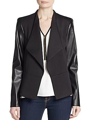 Faux Leather-Sleeve Ponte Knit Jacket