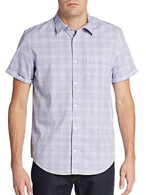 Regular-Fit Faded Grid Cotton Sportshirt