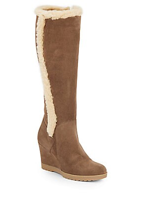 aquatalia by marvin k female curran faux furtrimmed suede tall wedge boots