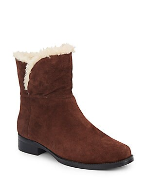 Bear Faux Shearling-Lined Suede Boots