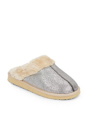 Faux Fur-Trimmed Slippers