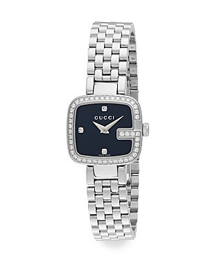 gucci female g gucci 063 tcw diamond stainless steel bracelet watch