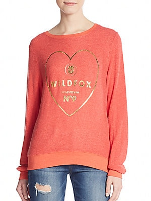 Metallic Heart Logo Graphic Sweatshirt