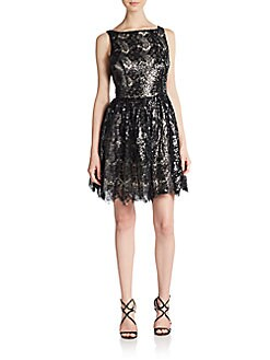 Sequined Lace Fit-And-Flare Dress