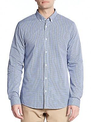 michael kors male cotton gingham sport shirt