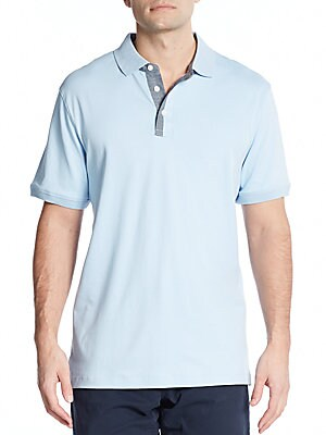 michael kors male 45883 chambraytrimmed cotton polo