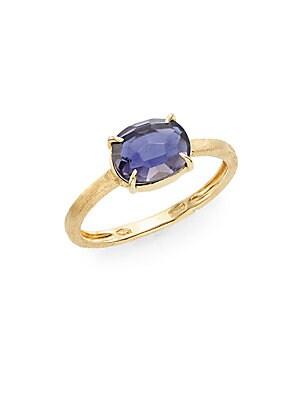 Murano Iolite & 18K Yellow Gold Ring