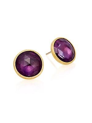 Jaipur Amethyst & 18K Yellow Gold Earrings