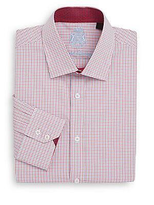 Regular-Fit Checked Cotton Dress Shirt