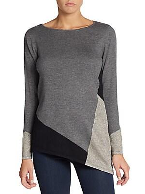 Colorblock Asymmetrical Sweater