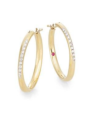 Diamond & 18K Yellow Gold Hoop Earrings/1
