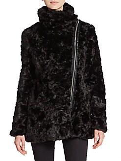 Faux Fur Asymmetrical-Zip Jacket