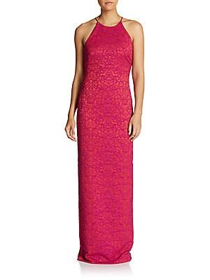 Embossed Halter Column Dress