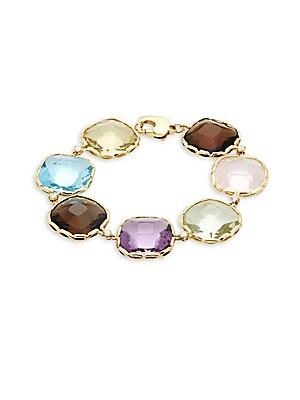 18K Yellow Gold, Diamond & Gemstone Link Bracelet