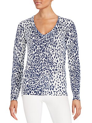 Cecile Cashmere Animal-Print Sweater