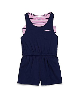 Little Girl's Two-Piece Striped Top & Romper Set