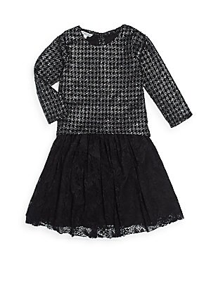 Girl's Houndstooth Top & Lace Skirt Two-Piece Set