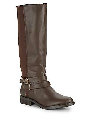 Equestrian Leather-Blend Boots