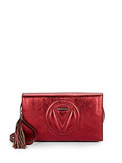 Valentino by Mario Valentino Lena Metallic Leather Crossbody Bag