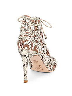Leah Animal-Print Leather Lace-Up Sandals