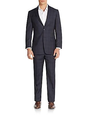 Regular-Fit Tonal Windowpane Check Wool Suit